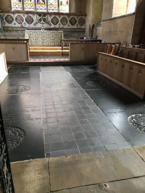 Ledgerstones. Old Hunstanton 1. Chancel no carpet. Alison WM.